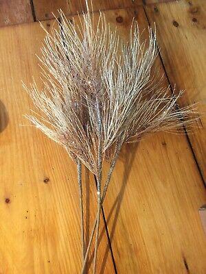 "Lot Of 3 Glittered Tan Pine Sprays Twigs Wired Kurt Adler New 30"" Woodland"