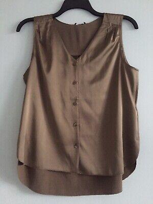 NWT  Eileen Fisher OAK Stretch Silk Charmeuse V-Neck Sleeveless Shirt M