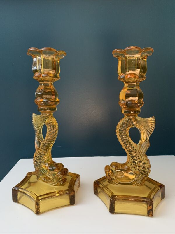 Pair Of Amber Westmoreland Serpent, koi, dolphin candle Holders