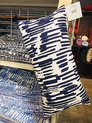 """LOT of 4 KATE SPADE BLUE AND WHITE PAINT DRIP THROW PILLOWS Case  NWT 10 X 20"""""""