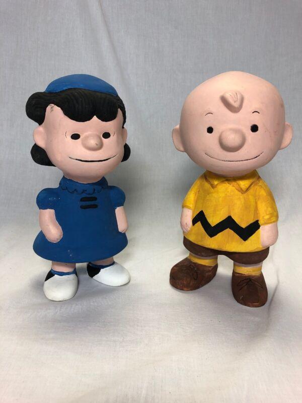 Vintage Peanuts Lucy & Charlie Brown Ceramic Figure Hand Painted
