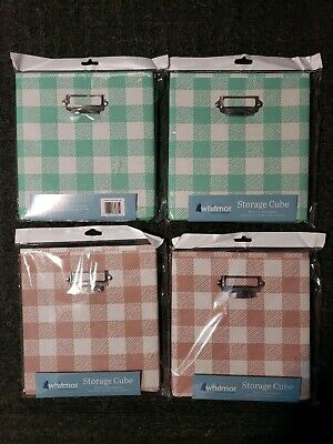 WHITMOR STORAGE CUBES 10.5 X 10.5 X 11in Collapsible storage/ PLAID SET OF 4/NEW Whitmor Storage Cubes