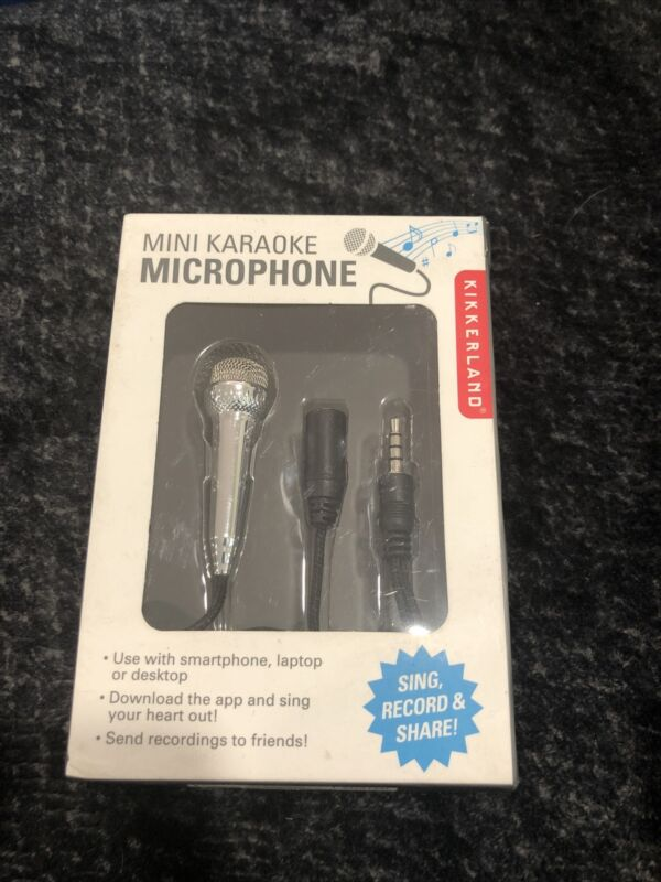 Kikkerland Mini Karaoke Microphone Sing Record Share Smartphone, Laptop New