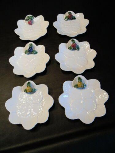 "Bordallo Pinheiro Set of 6 Leaf Majolica Fruit Individual 8"" Cheese Cake Plates"