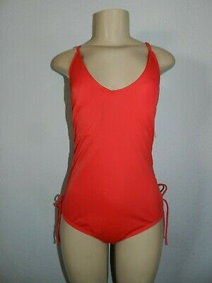 Time and Tru Women's One Piece Swimsuit Side Red Rover Medium (8-10) New W -