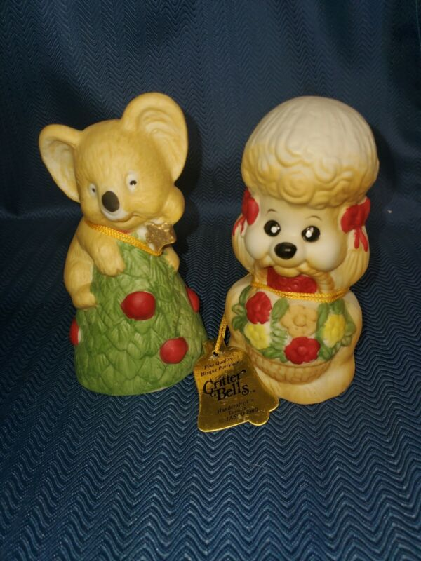 Vintage Critter Bells 1980 Christmas Poodle And Koala with Tags