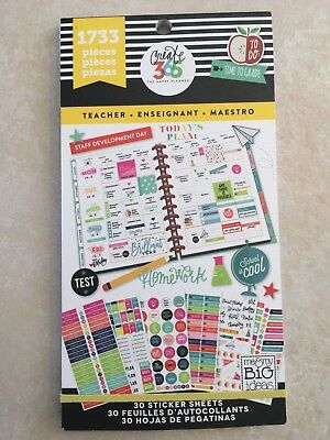 Create 365  The Happy Planner  Teacher Value Pack Stickers 1733 New