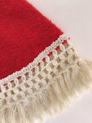 "Vintage 70's Christmas Tree Skirt Red Fleece Faux Furry w/ White Fringe Edge 35"""