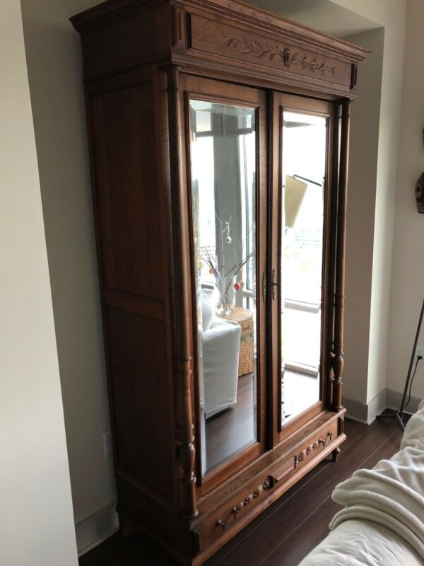 Antique French Victorian armoire, European Oak dark stain, late 1880s