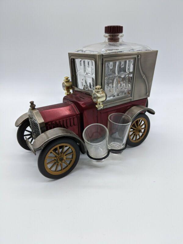 Vintage Model T Ford 1918 Music Box Liquor Decanter / Shot Glasses Set