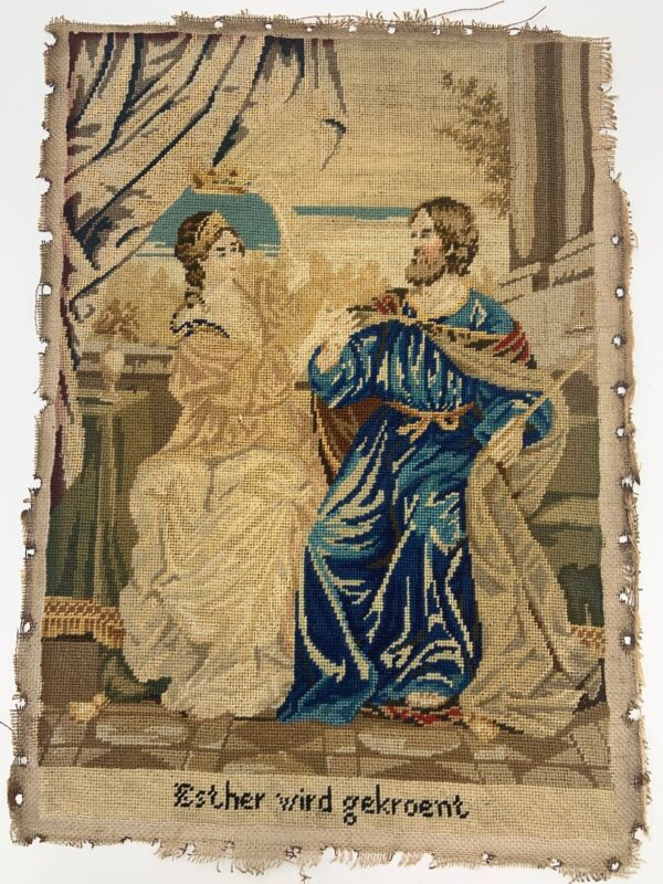 Antique Fine Needlepoint Sampler Coronation of Queen Ester Early 1800s German