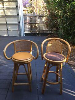2 cane stools