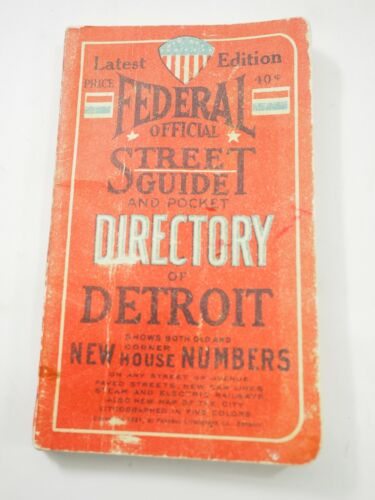 1921 Federal Official Street Guide and pocket Directory of Detroit Michigan
