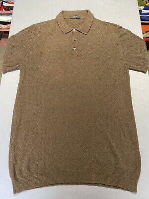 Roberto Collina Knitwear Short Sleeve Sweater Polo Shirt Brown Medium Large EUC
