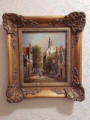 Hübsches Öl Gemälde auf Holz  21  X 18  cm
