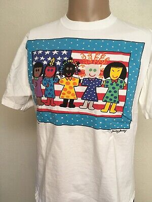 ZANEY JANEY BEST FRIENDS AMERICAN FLAG T SHIRT White USA MADE L Culture Fine