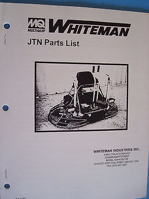 Mq Whiteman Jtn Power Trowel Parts List Pn 11261 196