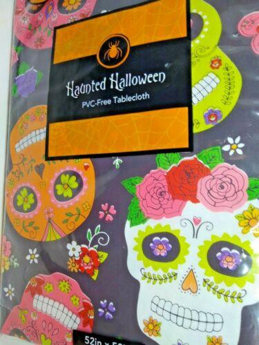 Sugar Skull Halloween PCV- free Flannel Back  52 X 52 inch New