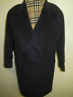 Genuine Burberry Blue Wool Raincoat Coat Mac Size M UK 10 Euro 38