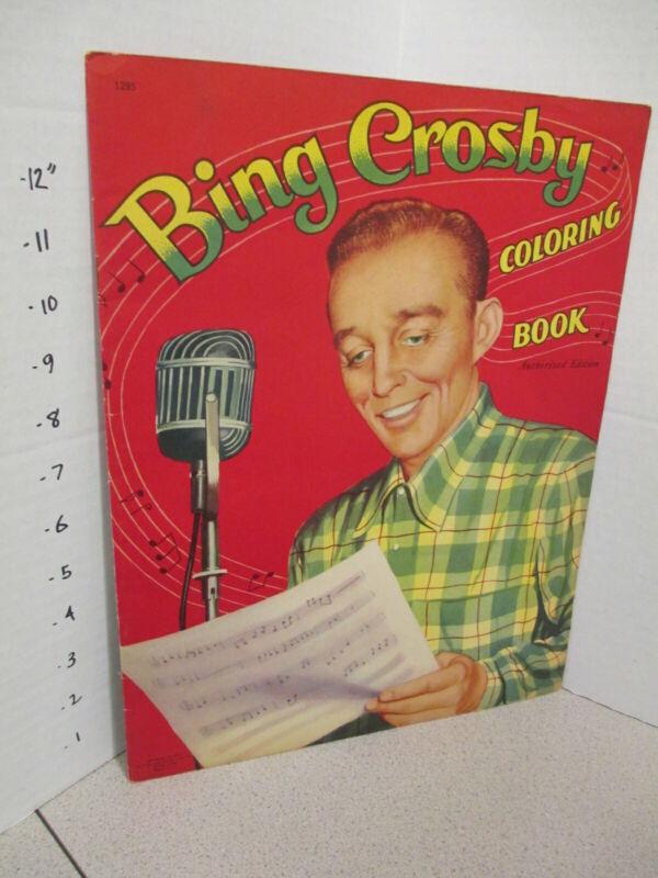 BING CROSBY 1954 coloring book unused radio microphone singer Saalfield 16p
