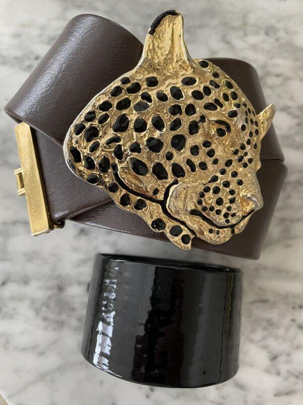 Stunning Big & Bold VTG Signed 1972 Mimi Di N Gold Leopard Belt Buckle 2 Straps!