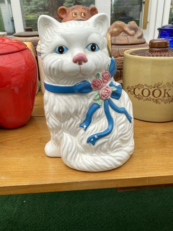 Vintage White Cat Cookie Jar