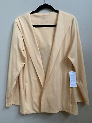 NWT Eileen Fisher Apricot Organic Cotton Open Front Hooded Jacket $158 Large