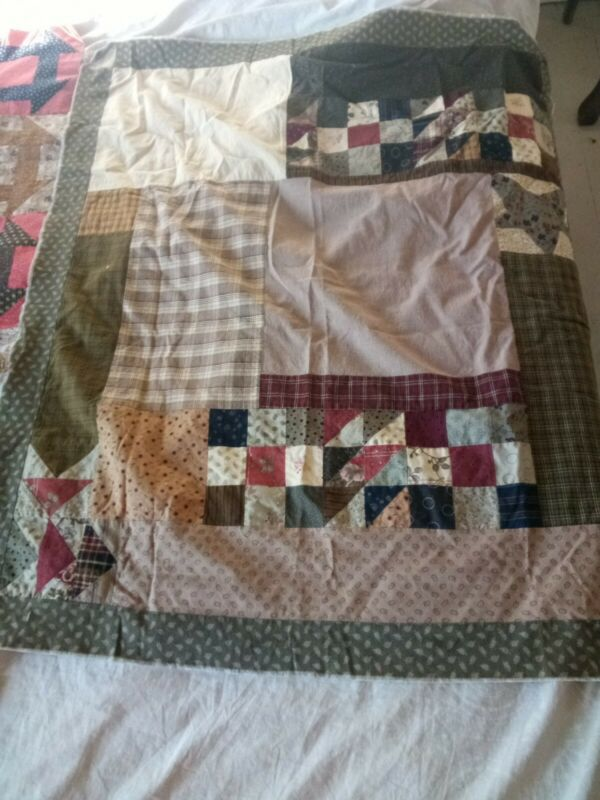 Vintage Hand & Machine Stitched patchwork Farmhouse cotton Quilt tops Sewing