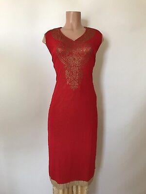 Hot Deal $24.99 swarovski work Party Wear Designer Indian Women Kurta 42 XL Red