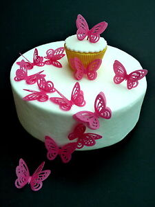 15 x DOUBLE HOT PINK 3D BUTTERFLIES PRE-CUT EDIBLE RICE PAPER CUP CAKE TOPPERS