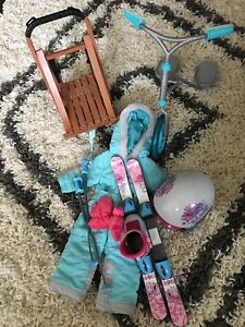 American Girl Scooter, Sled and Ski Outfit