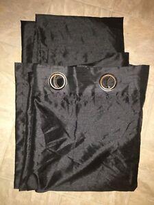 2 black curtain panels