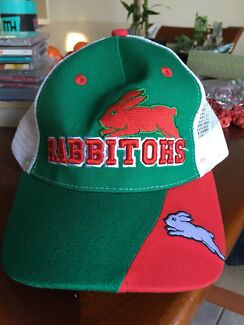A South Sydney Rabbitohs hat and jersey