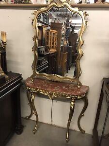 Gold hallway table & mirror set