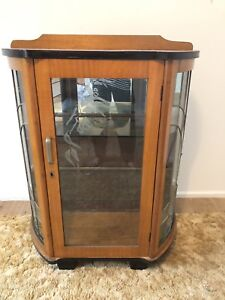 Victorian Antique Glass Cabinet with lead glass and frosted patterns.