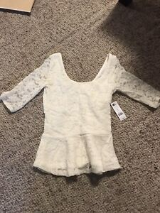 Garage peplum lace top size small.
