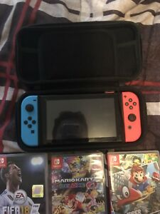 Nintendo switch with 3 games