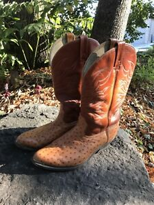Cowboy boots, men's sz 10.5 leather with Ostrich print