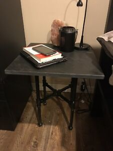 Industrial table w/ quartz or granite top!