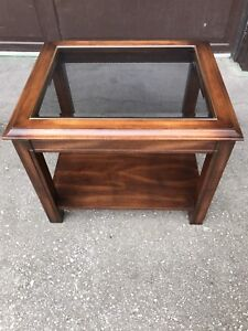 Side table with glass insert.