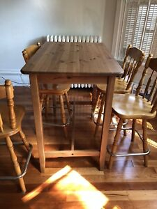 Gorgeous high top bar table and four bar stools