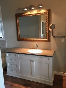 Vanity, mirror and lights for sale