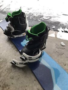 Jr snowboarding boots, board with bindings