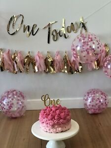 Gold Mirror Acrylic One Cake Topper First Birthday