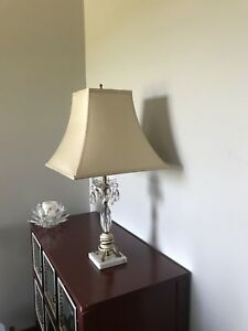 Restoration hardware pair (2) lamps with silk lamp shades