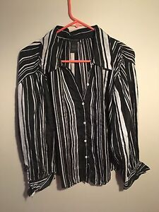 100% SILK STRIPED LONG SLEEVE SHIRT LARGE