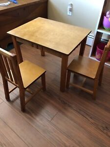 Kids real wood two chair table set.