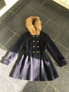 Japanese navy wool military style coat real fur