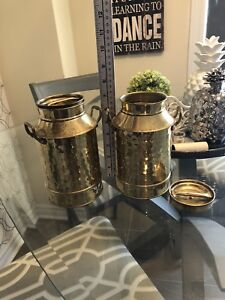 Vintage solid brass small milk pot / dairy cans / containers
