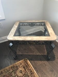 3 piece marble glass coffee table set